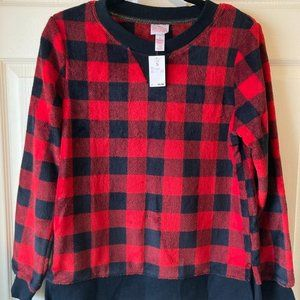 Fleece Cozy Check Top by Target Small New